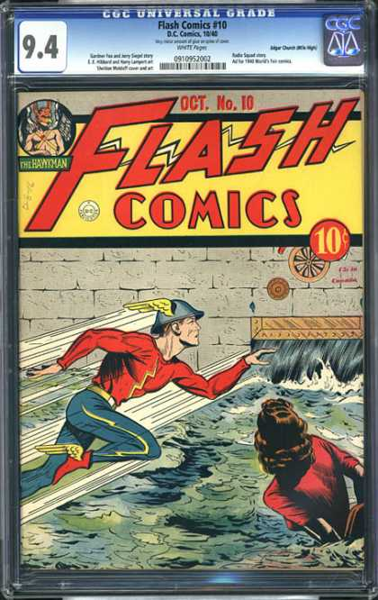 CGC Graded Comics - Flash Comics #10 (CGC) - Lighting - Fast - Wet - Wings - 10