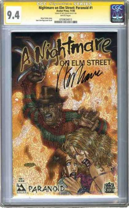CGC Graded Comics - Nightmare on Elm Street: Paranoid #1 (CGC) - Elm Street - Freddy - Knife - Blurry - Women