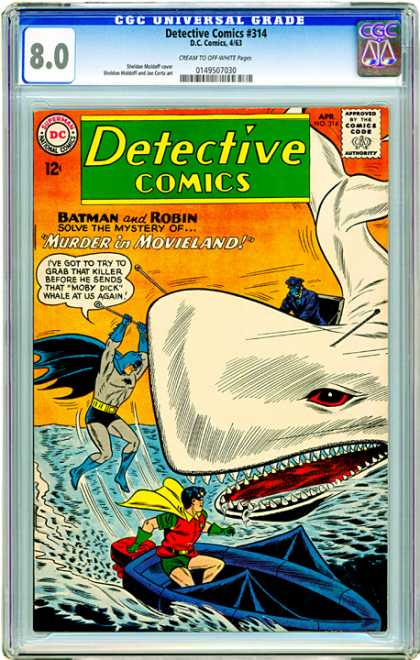 CGC Graded Comics - Detective Comics #314 (CGC) - Murder - Movieland - Mystery - Moby Dick - Killer