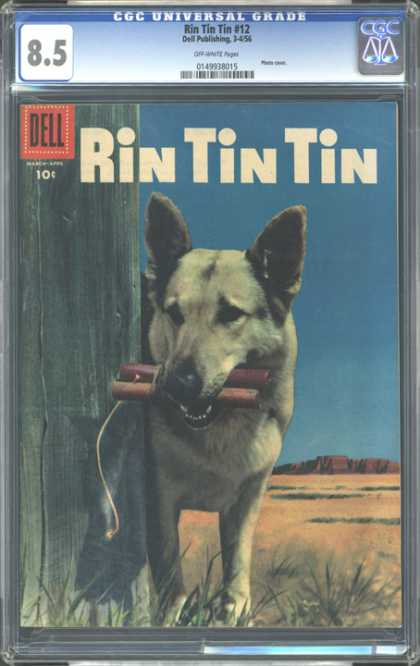 CGC Graded Comics - Rin Tin Tin #12 (CGC) - Dog - Dell - Bomb - Fence - Wick