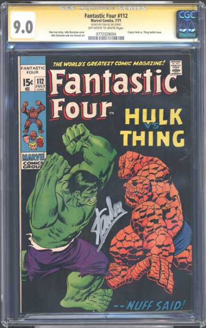 CGC Graded Comics - Fantastic Four #112 (CGC) - Fantastic Four - Marvel Comics - Approved By The Comics Code Authority - 112 July - Hulk Vs Thing