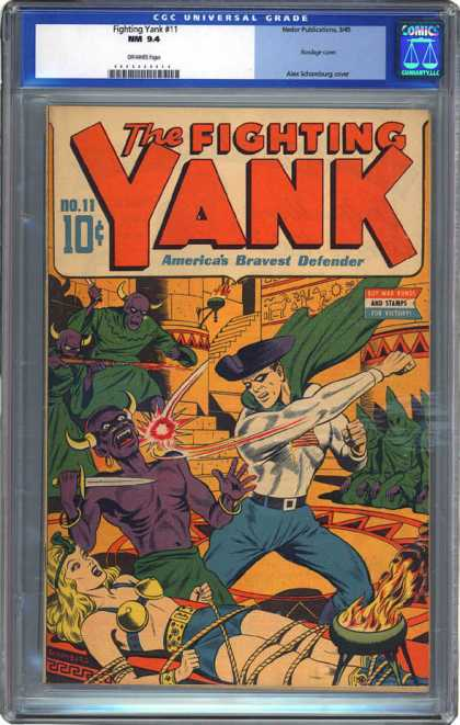CGC Graded Comics - Fighting Yank #11 (CGC) - Fighting Yank - Temple - Female - Green Hoods - Horned Creatures
