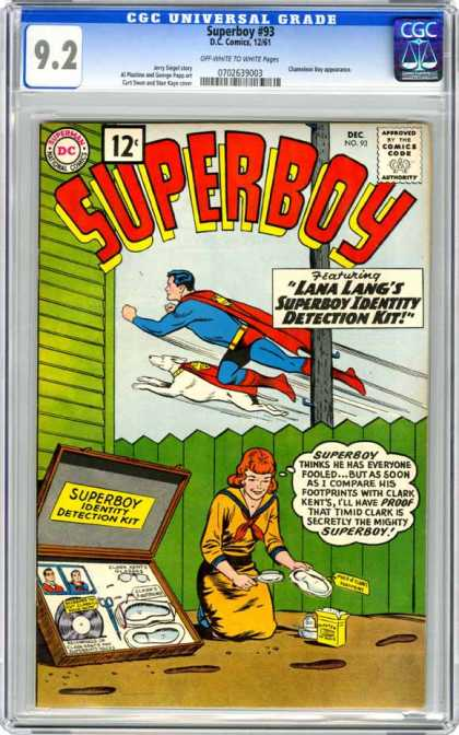 CGC Graded Comics - Superboy #93 (CGC) - 12 Cents - Superboy - Lana Langs - Identity Detection Kit - Footprints