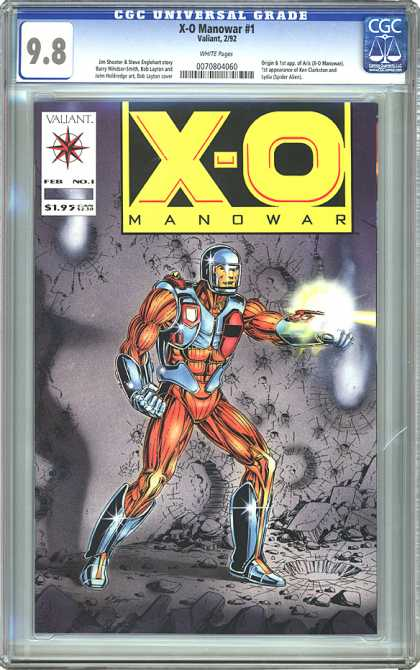 CGC Graded Comics - X-O Manowar #1 (CGC) - Helmet - Externalized Muscles - Silver Gloves - Laser On Arm - Crumbled Pavement