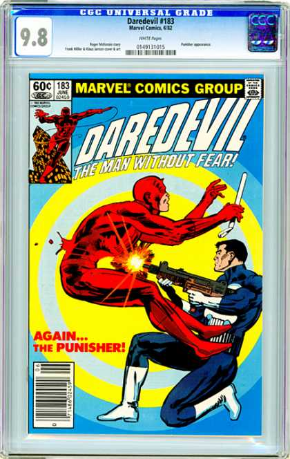 CGC Graded Comics - Daredevil #183 (CGC) - Daredevil - The Man Without Fear - Againthe Punisher - Gun - Blood