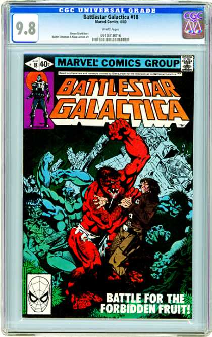 CGC Graded Comics - Battlestar Galactica #18 (CGC) - Muscular Red Monster - Struggle - Slobber - Destruction - Ripped Clothing