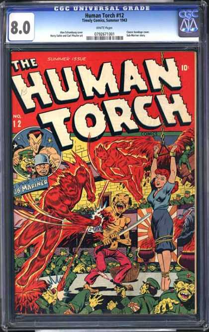 CGC Graded Comics - Human Torch #12 (CGC) - Johnny Storm - Timely Comics - Sub-mariner - Fantastic Four - Flame On