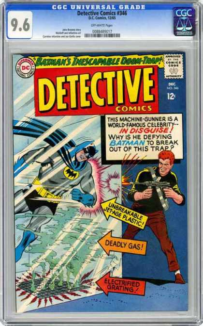 CGC Graded Comics - Detective Comics #346 (CGC) - Deadly Gas - Electrified Grating - Batman - One Gun Is Firing - Unbreakable Jet-age Plastic