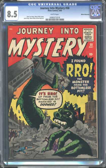 CGC Graded Comics - Journey Into Mystery #58 (CGC) - Journey Into Mystery - Rro - Monster From Bottomless Pit - Subway - Green Monster