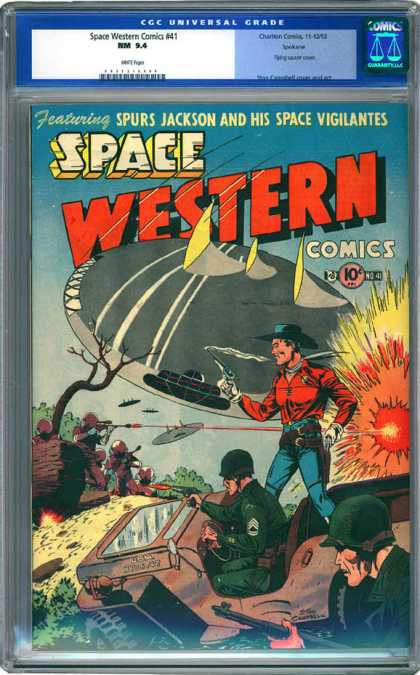 CGC Graded Comics - Space Western Comics #41 (CGC) - Spurs Jackson - Space Vigilantes - Flying Saucers - Army - Army Jeep