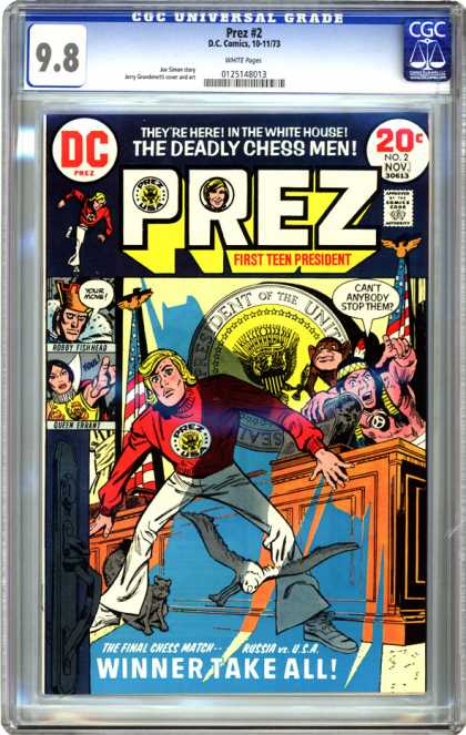 CGC Graded Comics - Prez #2 (CGC) - Prez - Dc Comics - First Teen President - The Deadly Chess Men - Winner Take All