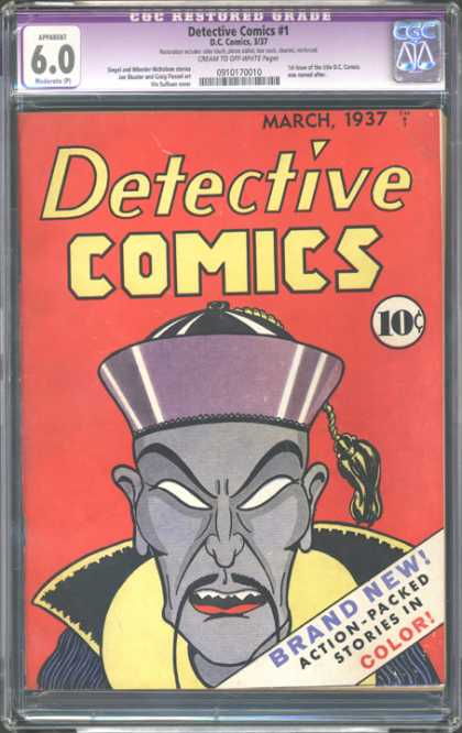 CGC Graded Comics - Detective Comics #1 (CGC) - Stories In Color - Red Background - Detective Comics - Stereotypical Asian Man - Mustache