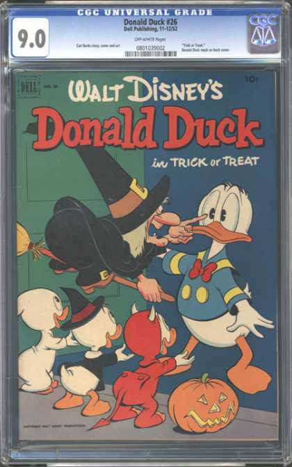 CGC Graded Comics - Donald Duck #26 (CGC) - Witch - Broom - Costumes - Bill - Halloween