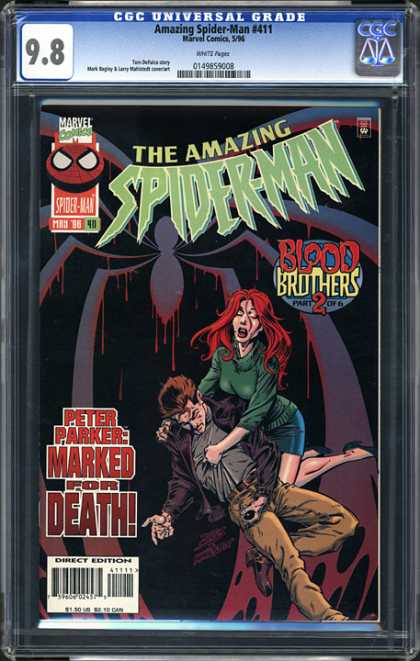 CGC Graded Comics - Amazing Spider-Man #411 (CGC) - The Amazing Spiderman - Blood Brothers 2 - Dead Man - Peter Parker Marked For Death - Sign