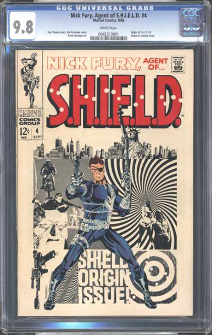 CGC Graded Comics - Nick Fury, Agent of S.H.I.E.L.D. #4 (CGC) - Liberty Statue - One Gun - One Motor Cycle - Buildings - Marvel Comics