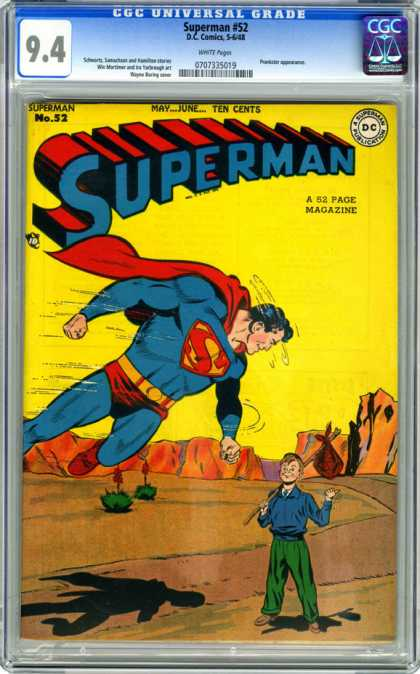 CGC Graded Comics - Superman #52 (CGC) - May June Ten Cents - No 52 - A 52 Page Magazine - 94 - Hitchhiker