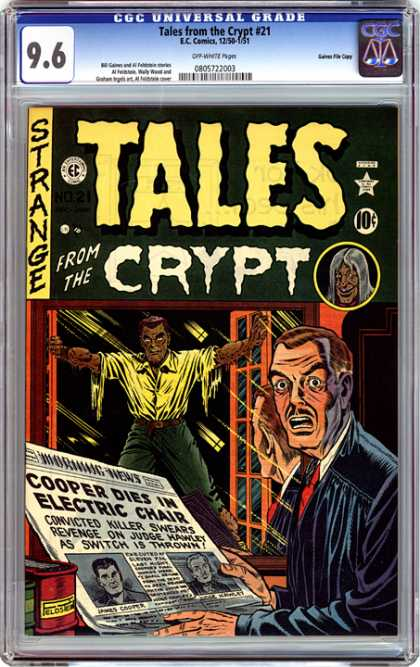 CGC Graded Comics - Tales from the Crypt #21 (CGC) - Tales From The Crypt - Eccomics - Starnge - Cooper Dies In Electric Chair - 96