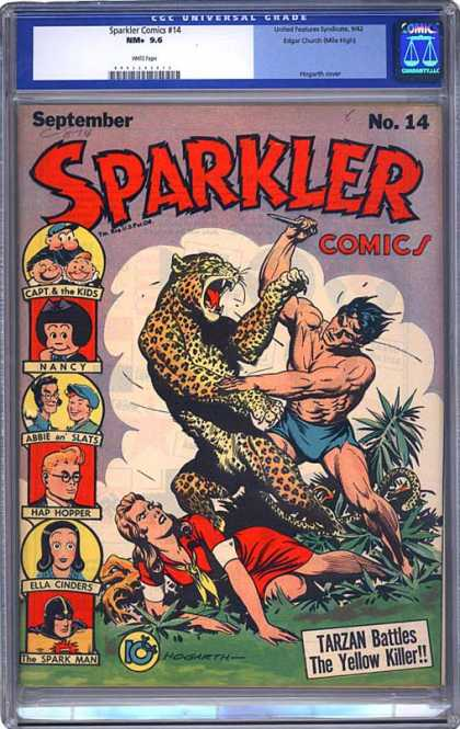 CGC Graded Comics - Sparkler Comics #14 (CGC) - Man Vs Beast - Leopard - Nancy - Tarzan - Jane