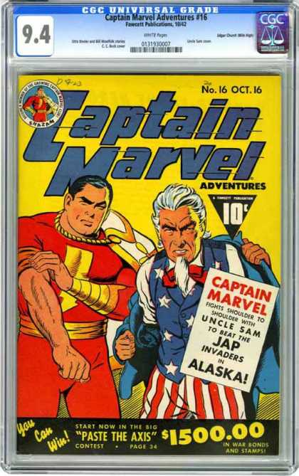 CGC Graded Comics - Captain Marvel Adventures #16 (CGC) - Captain Marvel - Uncle Sam - Alaska - Japs - Contest