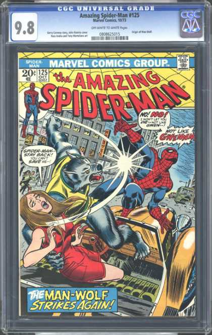 CGC Graded Comics - Amazing Spider-Man #125 (CGC) - Helpless Woman - Hairy Villian - Antique Automobile - Yellow Spiderweb - Busy Street
