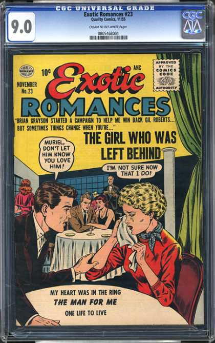 CGC Graded Comics - Exotic Romances #23 (CGC) - Restaurant - Tears - The Girl Who Was Left Behind - The Man For Me - One Life To Live
