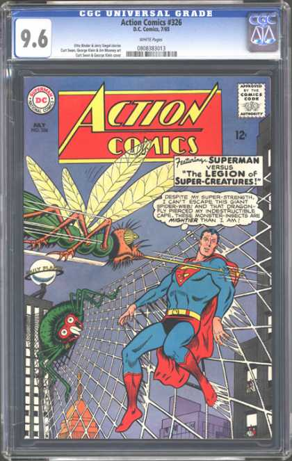 CGC Graded Comics - Action Comics #326 (CGC) - Action Comics - Bug - Wings - Superman - Web