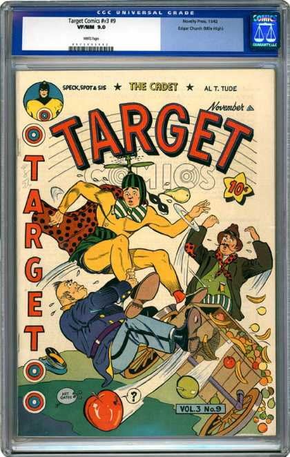 CGC Graded Comics - Target Comics #v3 #9 (CGC) - Target - The Cadet - Fruit Car - Crash - Policeman