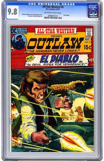 CGC Graded Comics - All Star Western #5 (CGC) - El Diablo - Noose - The Hangman Never Loses - Revolver - Gun Fire
