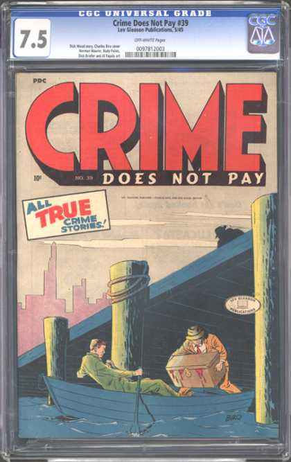 CGC Graded Comics - Crime Does Not Pay #39 (CGC) - Cgc Hologram - Crime - City - Dock - Clouds