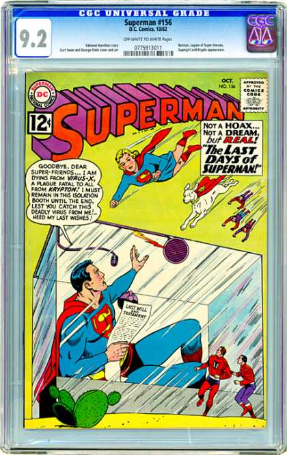 CGC Graded Comics - Superman #156 (CGC) - Superman - Wonderdog - Trapped - Superwoman - Last Will Of Superman
