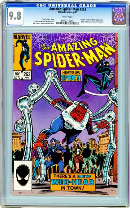CGC Graded Comics - Amazing Spider-Man #263 (CGC) - Amazing Spider-man 263 - Spider-man - Heads Up Spidey - Web-head - Octopus