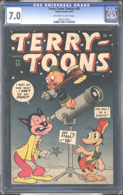 CGC Graded Comics - Terry-Toons Comics #35 (CGC) - Cartoons - Animated - Funny Animals - Telescope - Hammer