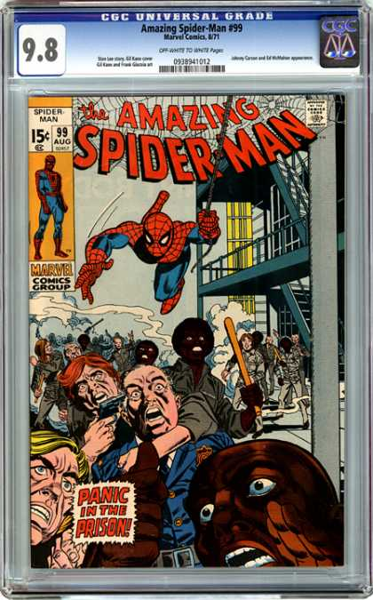 CGC Graded Comics - Amazing Spider-Man #99 (CGC) - The Amazing Spider-man - Panic In The Prison - Prisoners Rioting - Guard Being Held Captive - Spider Web