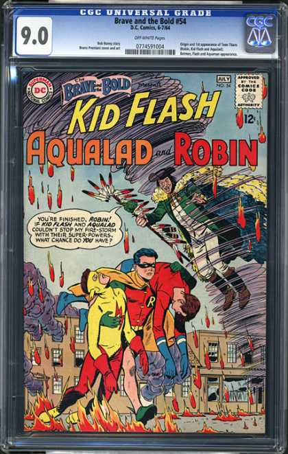CGC Graded Comics - Brave and the Bold #54 (CGC) - Kid Flash - Aqualad - Robin - Brave And The Bold - Fire