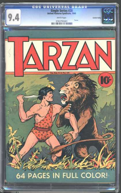 CGC Graded Comics - Single Series #20 (CGC) - Tarzan - 10 Cents - Lion - Knife - Blade