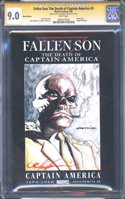 CGC Graded Comics - Fallen Son: The Death of Captain America #3 (CGC) - Marvel - Smoke - Cigratte - Skull - Death