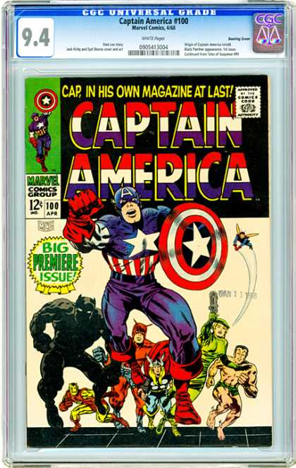 CGC Graded Comics - Captain America #100 (CGC) - Captain America - Costume - Big Premiere Issue - Shield - Comics Code
