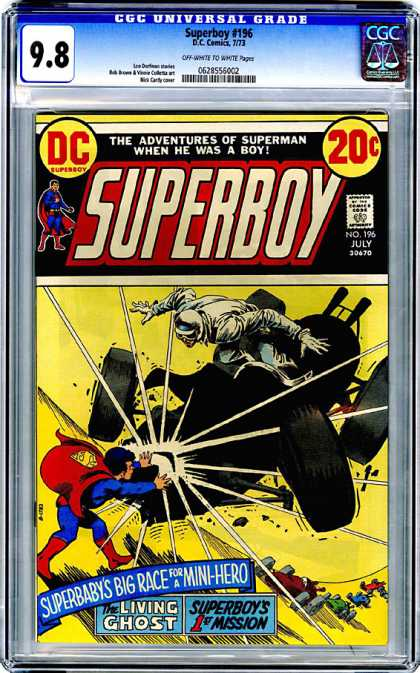 CGC Graded Comics - Superboy #196 (CGC) - Adventures Of Superman When He Was A Boy - No 196 July - The Living Ghost - Superboys First Mission - Superboys Big Race