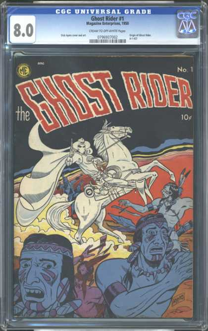 CGC Graded Comics - Ghost Rider #1 (CGC) - Ghost Horse - Indians - Gun - Cowboy - Dust