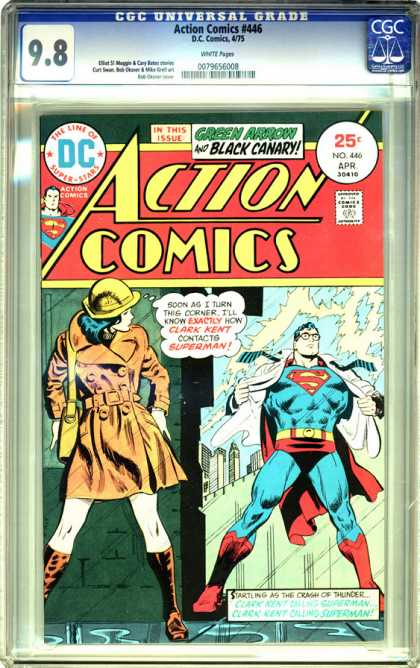 CGC Graded Comics - Action Comics #446 (CGC) - Hero - Man - Guy - Lady - Cap
