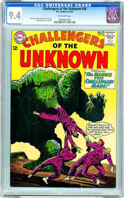 CGC Graded Comics - Challengers of the Unknown #38 (CGC) - Challengers Of The Unknown - The Menace The Challengers Made - Rocky - Walking Chewing Gum - Loose