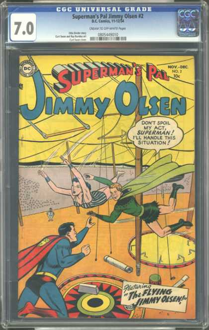 CGC Graded Comics - Superman's Pal Jimmy Olsen #2 (CGC) - The Flying Jimmy Olsen - Circus - Falling Lady - Superhero - Green Cape