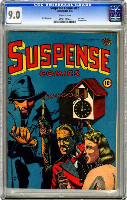 CGC Graded Comics - Suspense Comics #12 (CGC) - Suspense Comics - Coocoo Clock - Red Tuxedo - Hat - Trench Coat