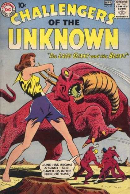 Challengers of the Unknown 15 - Lady Giant And The Beast - Dc - June - Four Men - September Issue