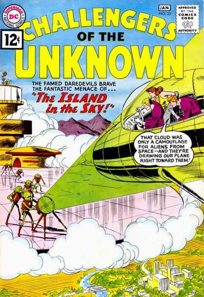 Challengers of the Unknown 23 - The Island In The Sky - Cloud - Aliens - Space Ship - Buildings