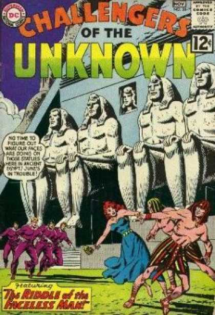 Challengers of the Unknown 28 - Statues - The Riddle Of The Faceless Man - Pyramid - November - Woman