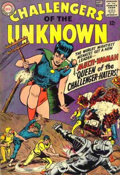 Challengers of the Unknown 45 - Woman - Wood - Fighting - Fire - Robot