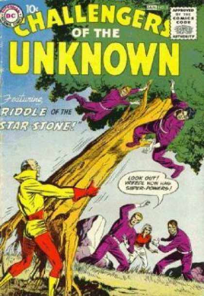 Challengers of the Unknown 5 - Riddle Of The Star Stone - Tree - Purple Suits - Yellow Suit - Strong Man - Howard Chaykin, Jack Kirby