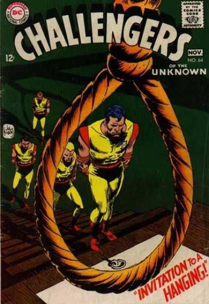 Challengers of the Unknown 64 - Noose - Wooden Steps - Hanging - Four Persons - Yellow Clothes - Joe Kubert
