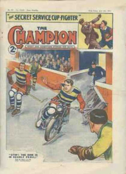 Champion 794 - Hockey Sticks - Motorcycle - Skates - Police - Crowd